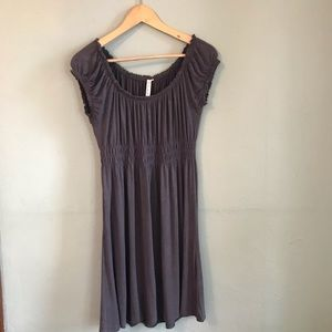 CristinaLove off the shoulder grey viscose dress